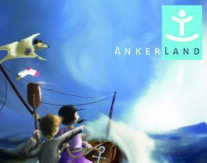 Dieses Motiv des Ankerland Spendenflyer zeigt symbolisch auf, was Ankerland leistet: Ein wankendes Schiff im tosenden Meer mit dem rettenden Ufer und